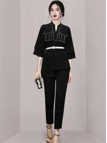 Autumn Fashion Rhinestones V-neck Belt Waist Long Suits