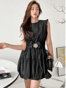 Vogue Lady Rhinestones Bowknot Belt Fluffy Tank A-line Dress