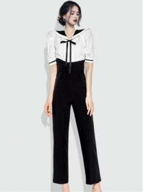 Fashion Women Doll Collar High Waist Two Pieces Suits