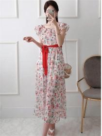 Pretty Korea Flouncing Collar Tie Waist Flowers Chiffon Dress