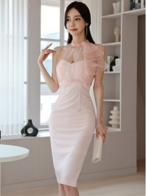 Sexy Charm Gauze Flouncing Collar Off Shoulder Slim Dress