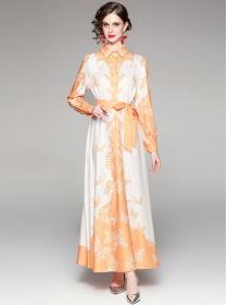 Europe Stylish Tie Waist Flowers Shirt Collar Maxi Dress
