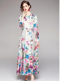 Wholesale Autumn Shirt Collar Tie Waist Flowers Long Dress