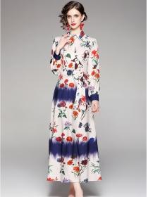 Fashion Women Tie Waist Flowers Long Sleeve Maxi Dress