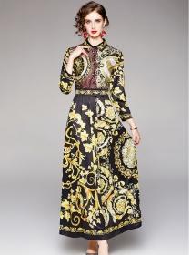 Retro Wholesale High Waist Flowers Pleated Shirt Maxi Dress