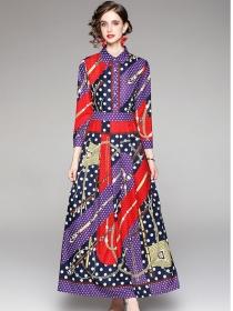 Europe Fashion Shirt Collar Dots Long Sleeve Maxi Dress