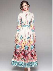 Autumn New High Waist Flowers Shirt Collar Long Dress