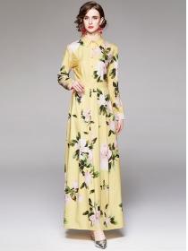 Pretty Women Fashion Shirt Collar Flowers Maxi Dress