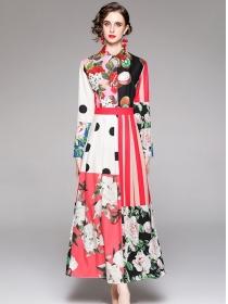 Charm Grace High Waist Color Block Dots Flowers Maxi Dress