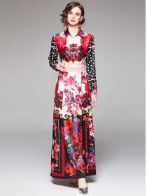 Europe Retro Fashion Flowers High Waist Shirt Maxi Dress