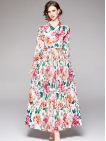 Pretty Women Shirt Collar Flowers Pleated Maxi Dress