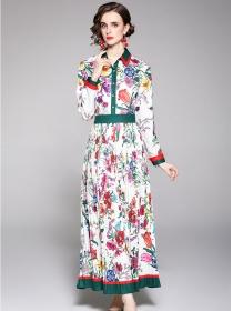 Europe Charming Shirt Collar Flowers Pleated Maxi Dress