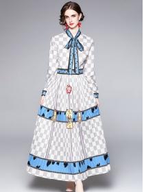 Autumn Fashion Tie Collar Plaids Long Sleeve Maxi Dress