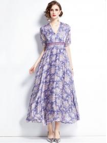 Pretty Charming High Waist V-neck Flowers Chiffon Long Dress