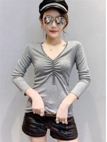 Korea Autumn Beads Tassels V-neck Long Sleeve T-shirt