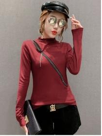 Korea Fashion 2 Colors Zipper Open Slim Cotton T-shirt