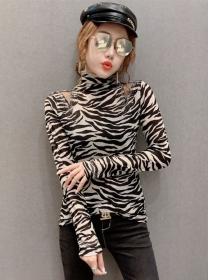 Retro Fashion 3 Colors Stand Collar Long Sleeve T-shirt