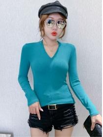Korea Wholesale 3 Colors V-neck Slim Long Sleeve T-shirt