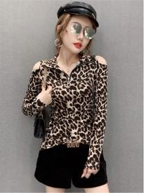 Hot Sell 3 Colors Zipper V-neck Off Shoulder Slim T-shirt