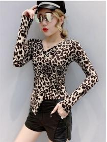 Vogue Lady Tie Waist V-neck Leopard Long Sleeve T-shirt
