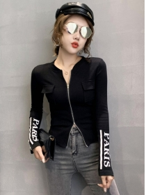 Fashion Women 3 Colors Zipper Open Letters Sleeve T-shirt