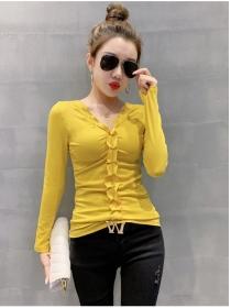 Wholesale Autumn 3 Colors Pleated V-neck Skinny T-shirt