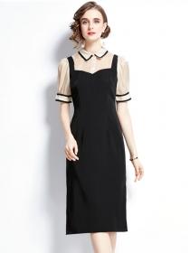 Quality OL Shirt Collar Puff Sleeve Tie Waist Bodycon Dress