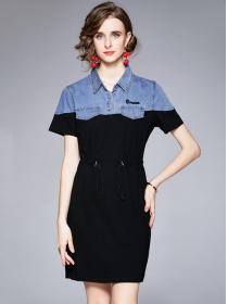 Modern Europe Denim Shirt Collar Tie Waist Slim Dress