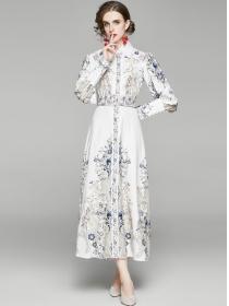 Retro Autumn Shirt Collar Belt Waist Flowers Maxi Dress