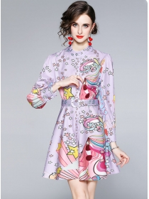Lovely Wholesale Single-breasted Flowers Puff Sleeve Dress