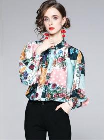 Fashion Europe Puff Sleeve Loosen Flowers Blouse