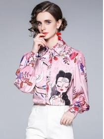 Europe Stylish Shirt Collar Carton Loosen Puff Sleeve Blouse