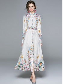 Retro Autumn Fashion Shirt Collar Flowers Maxi Dress