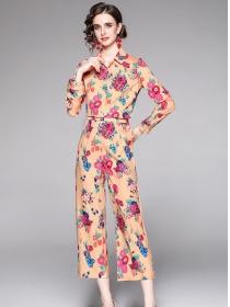 Europe Wholesale Shirt Collar Flowers Wide-leg Long Suits