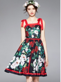 Europe Summer Tie Straps Rose Flowers A-line Dress