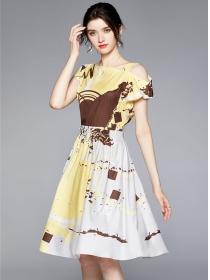 Retro Fashion Off Shoulder Color Block Printings A-line Dress
