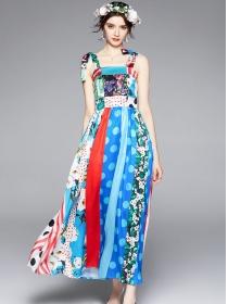 Wholesale Summer Flowers High Waist Straps Maxi Dress