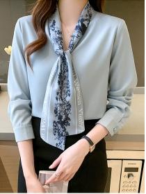 Fashion Korea Letters Flowers Tie Collar Chiffon Blouse