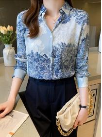 Retro Fashion Shirt Collar Flowers Long Sleeve Blouse