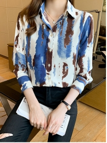 Hot Sell Color Block Paintings Long Sleeve Blouse