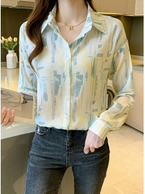 Simple Women Fashion Color Block Long Sleeve Blouse