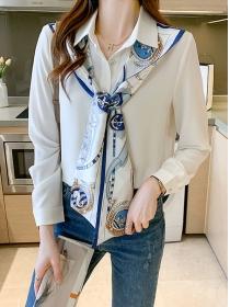 Fashion Women Tie Collar Long Sleeve Chiffon Blouse