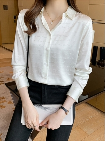 All Match Wholesale Letters Loosen Long Sleeve Blouse