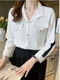 Fashion Autumn Single-breasted V-neck Long Sleeve Blouse