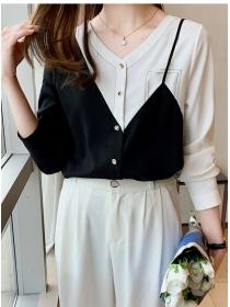 Autumn New Fashion V-neck Color Block Splicing Chiffon Blouse