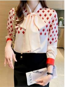 Pretty Women Tie Collar Plaids Puff Sleeve Loosen Blouse