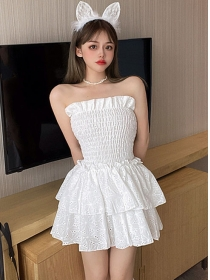 Cute Sexy 2 Colors Layered Flouncing Strapless Dress