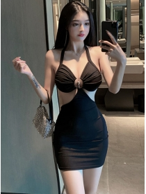 Modern Sexy Hollow Out Backless Halter Club Dress