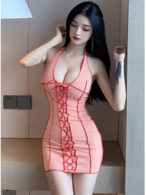 Summer Sexy Ties Low Bust Backless Halter Dress