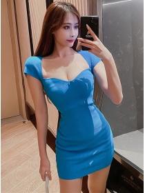 Wholesale Cheap 2 Colors Square Collar Slim Knitting Dress